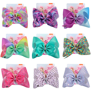 Jojo Siwa Baby Headwear Hair Bows for Girls With Alligator Clip Hairpin Handmade Ribbon Large 8Inch Hair Accessories Jojo Bows 5 inch handmade hair bows with feather for thanksgiving day hair exquisite accessory ribbon hair clip