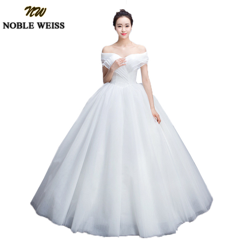 NOBLE WEISS Simple Ball Gown Wedding Dresses 2019 Puffy Tulle Off the Shoulder Wedding Gowns Long