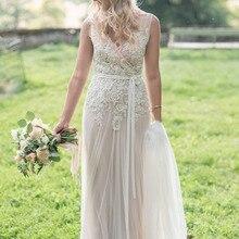 saf sid Real Brides Simple V-neck Boho Wedding Dress