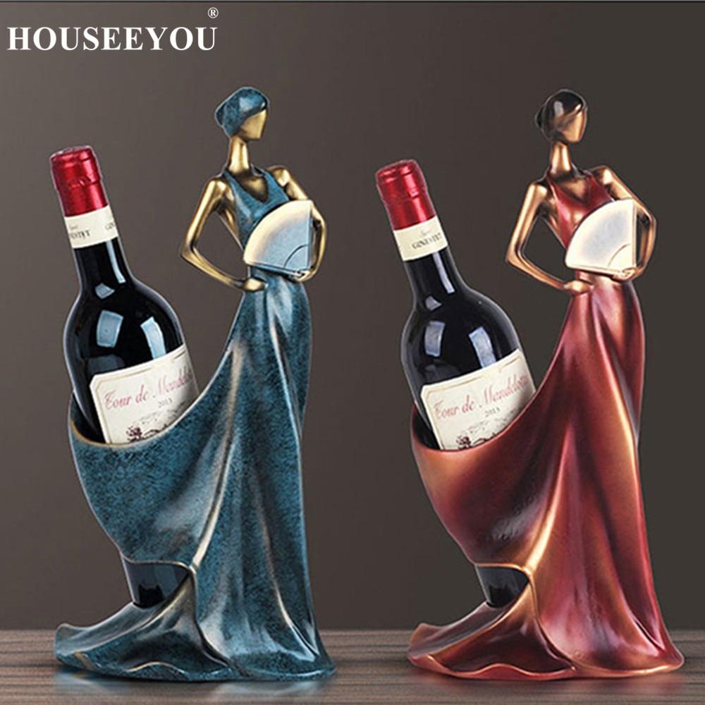 Resin Eastern Beauty Sculpture Resin Wine Rack Best Wine Bottle Holder Wine Stand Home Bar Restaurant