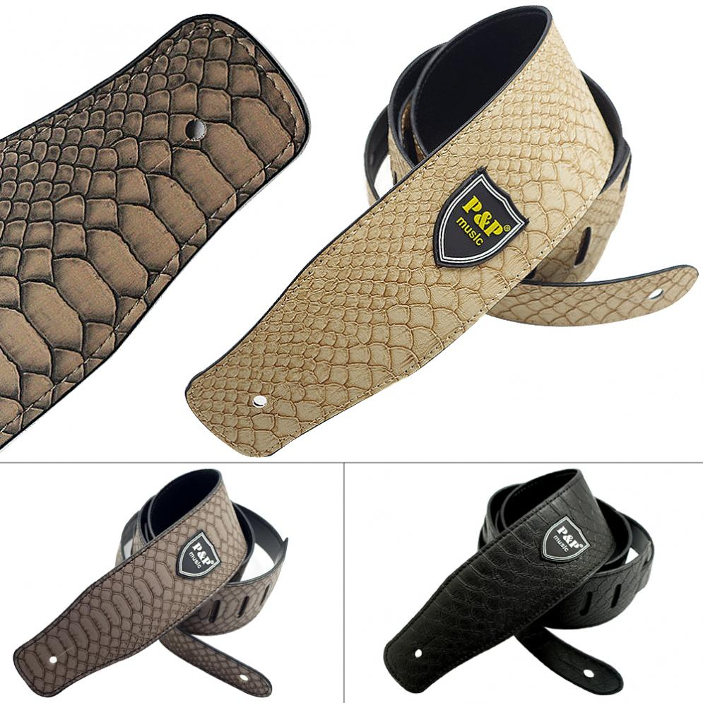 Adjustable PU Leather Guitar Strap with Python Skin Pattern for Guitar Bass Musical Inst ...