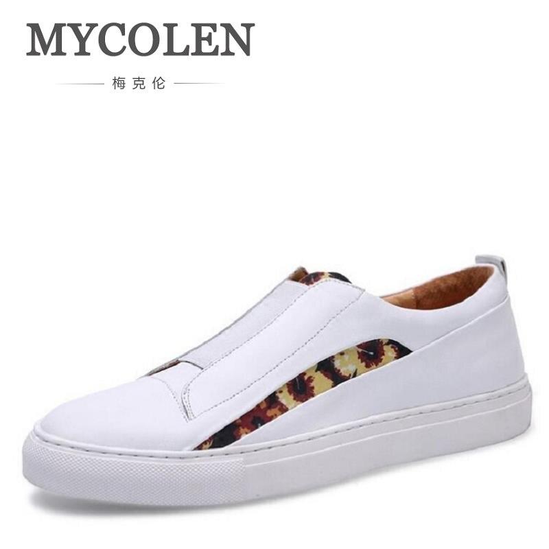 Patchwork Marque Casual Cuir Vachette Noir De Sapato Mocassins Luxe Hommes Chaussures Mycolen Designer En blanc kN8wOn0PXZ