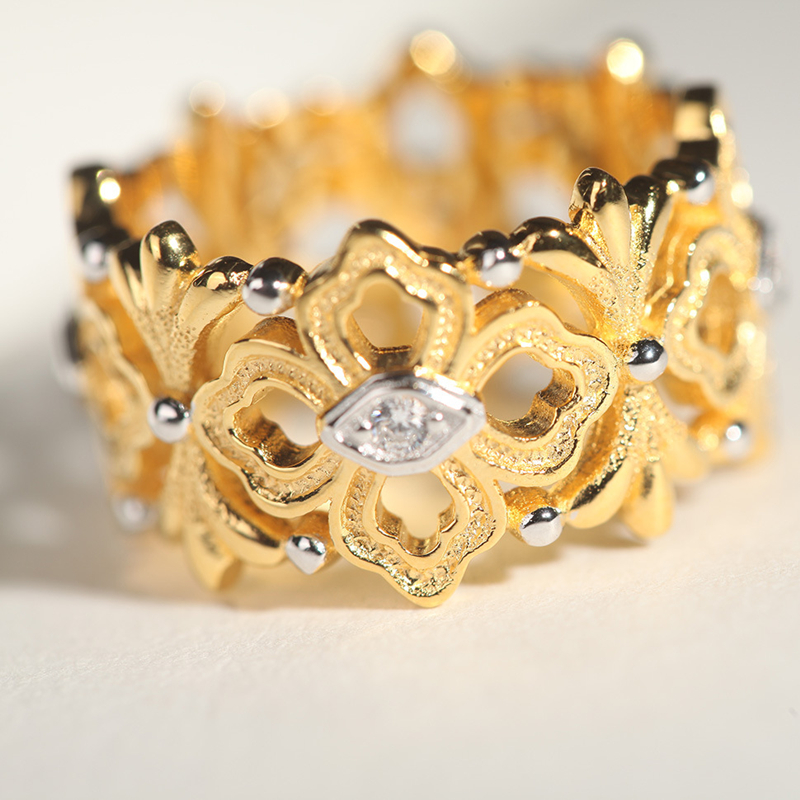 CMajor bijoux en argent Sterling chanceux guirlande fleur vigne feuilles Vintage creux anneaux pour les femmes - 5