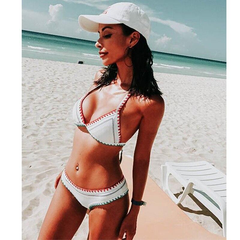 2020 New Sexy Bikinis Women Swimwear Push Up Swimsuit Halter Top Biquini Padded Bathing Suit Bandage Brazilian Bikini Set 2