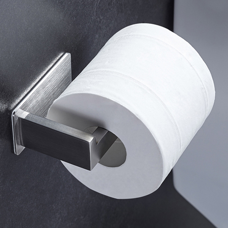 Bathroom Toilet Paper Roll Holder Self Adhesive Stainless Steel Kitchen Tissue Hanging Holder Wall Mounted Paper Holder Brushed