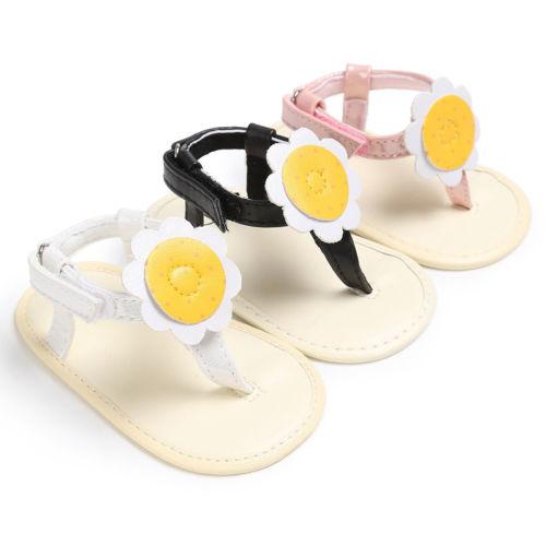 New Fashion Summer Newborn Baby Boy Girl Sandals Soft Sole Crib Shoes Sunflower Patchwork Flat Sneaker Prewalker