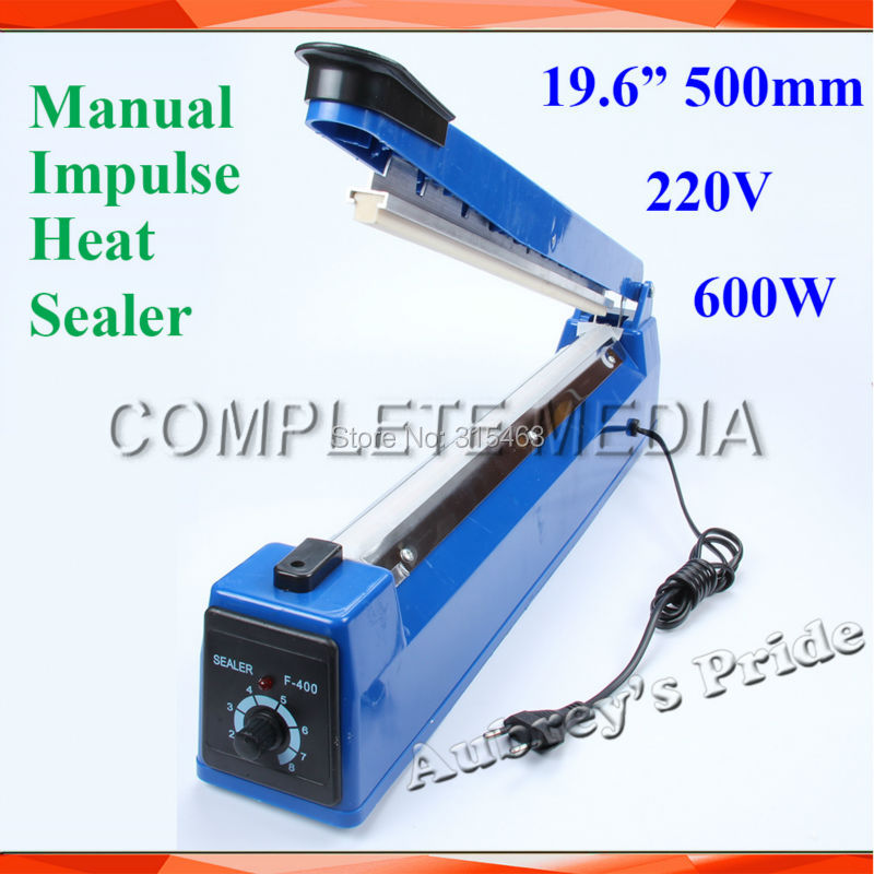 New 220V 19 6 500mm 600W Hand Manual Impulse Sealer Heat Seal Machine Poly PVC Plastic