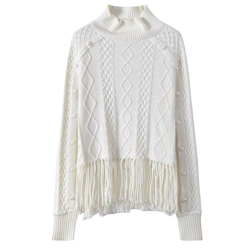 Pulls Rayé Automne Gland Turtlenect Lingge Top White Chandail Boutons Nouvelle Piste Femmes Knit 2018 Hiver Jumper Sruilee 4Ap0wqg4