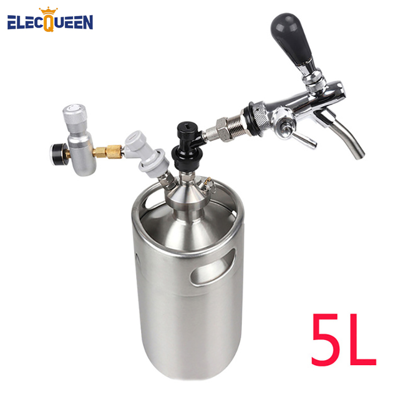 5L Stainless Steel Beer Growler Keg with Mini Keg Dispenser ,Tap Dispenser System Spear for Craft Beer image