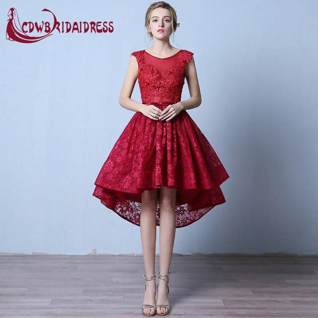 8bd0e1b1e Elegantes vestidos de coctel rojos 2017 scoop cuello apliques de encaje  asimétrico corto dress con cuentas