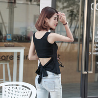 Summer Style Tank Top For Ladies Casual Tops Woman Plain Round Neck Sleeveless Tie Front Ribbed