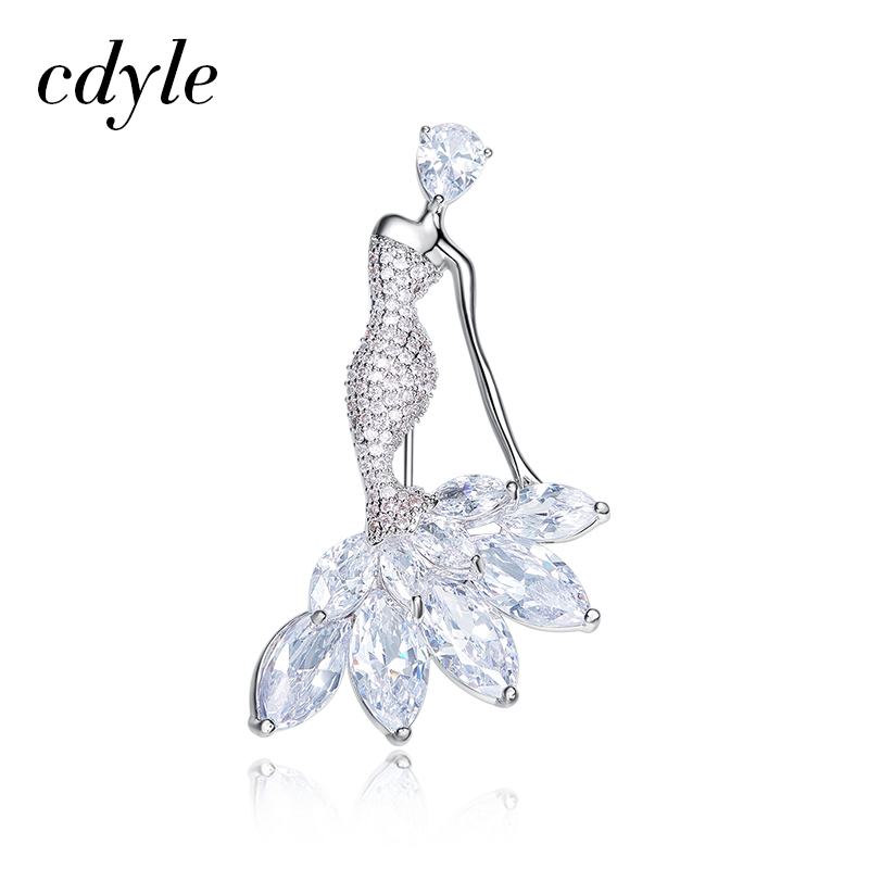 Cdyle Elegant Simple Brooches Austrian Rhinestone Fashion Women Jewelry Mermaid Brooches Pin Trendy Brooch Sexy Lady Gift New цена 2017