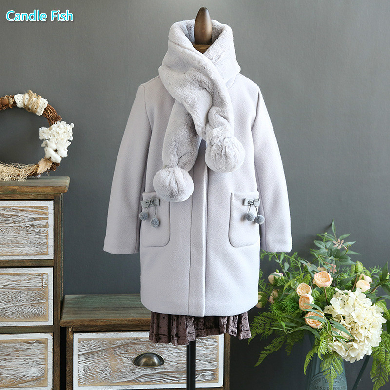 Children's clothing 2017 autumn and winter coat in the long section of woolen jacket woolen coat cotton thick coat with collar sky blue cloud removable hat in the long section of cotton clothing 2017 winter new woman