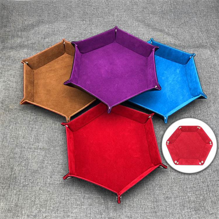 Image 1 - Polygon Board PU Leather Dice Plate Storage plate Bar Nightclub Game Board Gift Storage Tray-in Storage Boxes & Bins from Home & Garden