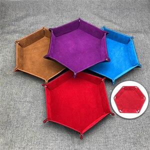 Image 1 - Tablero de polígono de cuero PU Placa de dados de almacenamiento de placa de Bar club nocturno juego de mesa de regalo bandeja de almacenamiento