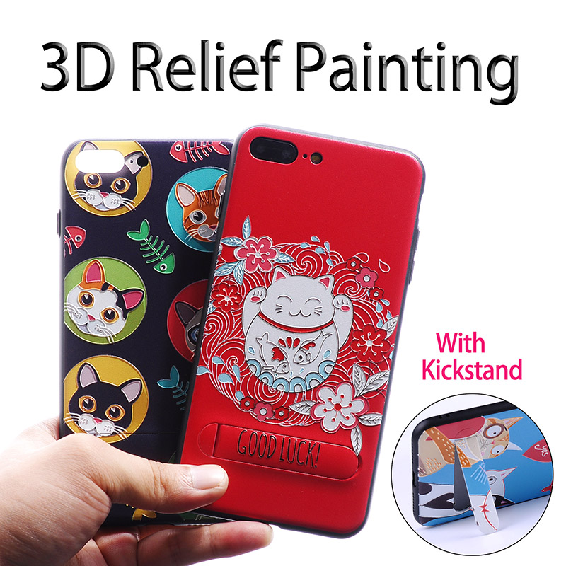 For iPhone 7 7Plus 6 6S 6Plus 8 8Plus X Cute Lucky Cat <font><b>Dog</b></font> Heart 3D Relief Painting With <font><b>Holder</b></font> kickstand Soft <font><b>Phone</b></font> Case