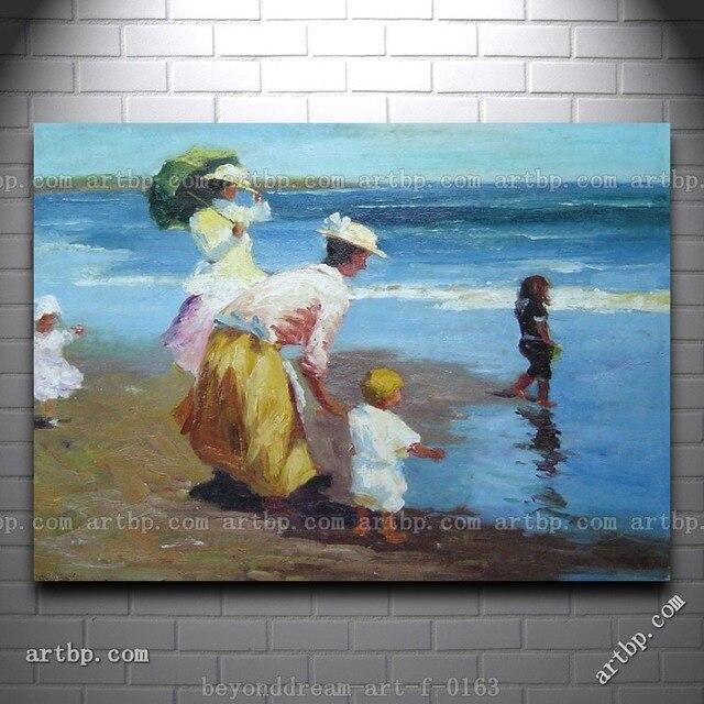 op het strand impressionisme olieverfschilderij abstracte vrouw