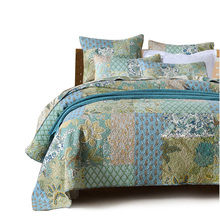CHAUSUB Vintage Patchwork Cotton Quilt Set 3PCS Handmade Quilted Bedspread Quilts Blanket Pillowcase Coverlet King Size
