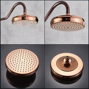 Image 2 - Oil Rubbed Bronze Shower Faucet System Rainfall Rose Golden and Bronze Bathroom Shower Mixer Shower Set Faucet Swivel Spout
