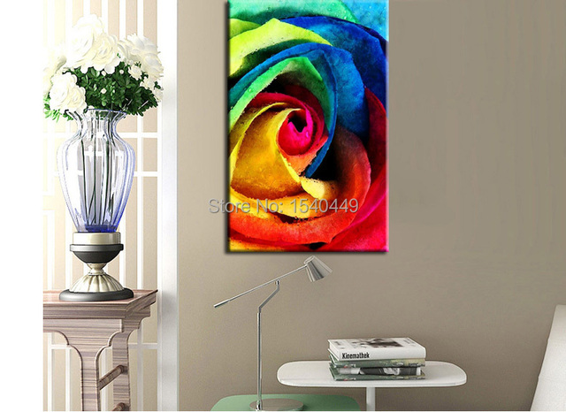 handmade abstract colorful rose oil painting cheap canvas art for
