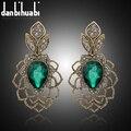 Pendientes largos de la vendimia de Antigüedades de oro verde de piedra Pendientes de Gota de cristal austriaco Para Las Mujeres Joyería de la boda India al por mayor