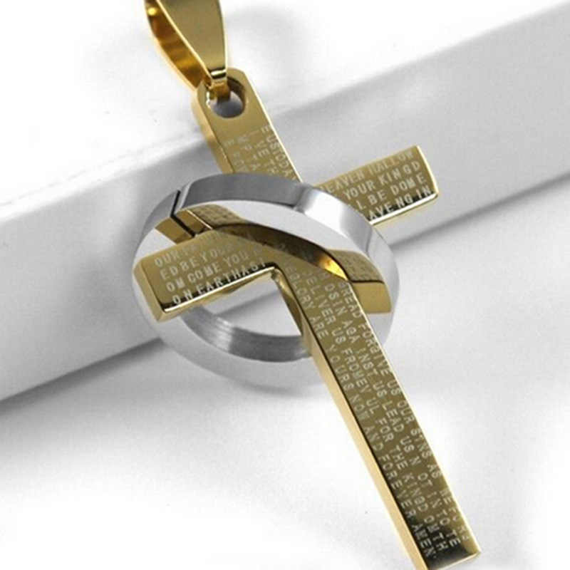 Hot 1Pc Fashion Stainless Steel Pendant Christian Bible Prayer Cross Pendant Men Necklace Charming Gifts Jewelry 2018