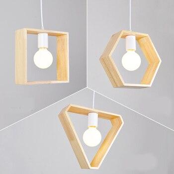 Nordic modern  wooden pendant light aisle restaurant bar the geometry lamps lighting