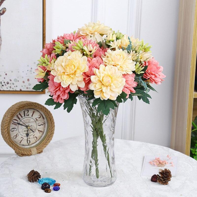 Us 8 59 35 Off Artificial Flowers 10 Heads Silk Marigold Wedding Bouquet Dahlia Diy Party Home Decor Fake Flowers Chrysanthemum Gerbera G10440 In