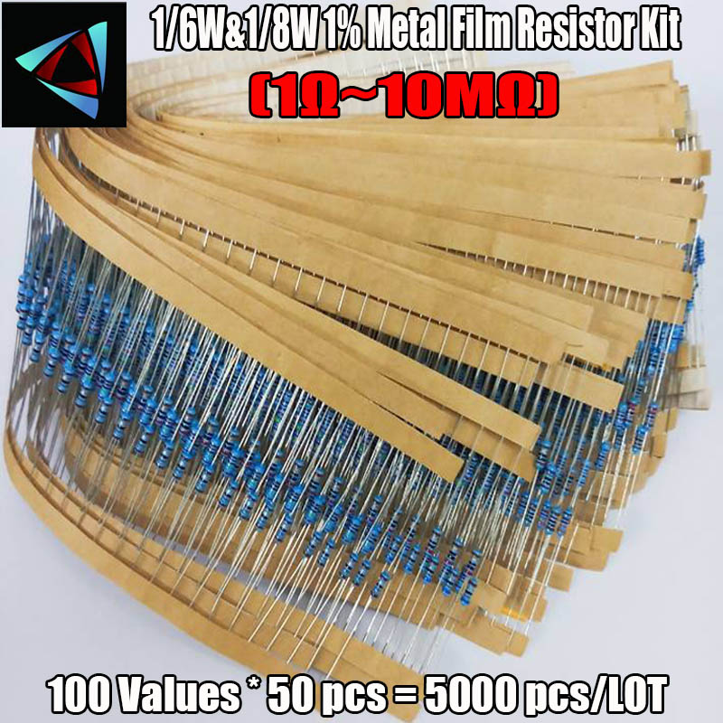1/6W&1/8W 0.25W 100valuesx50pcs=5000pcs 1R~10M 1% Metal Film Resistor Assorted Kit