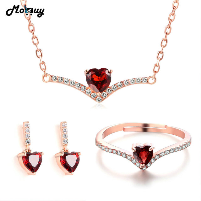 MoBuy 100% 925 Sterling Silver Jewelry Set Love Heart Gemstone Garnet Rose  Gold Plated Fine Jewelry For Women Wedding V004ERN c2bc5e90e