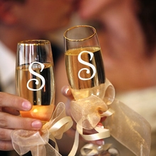 10pcs lot Free shipping Wedding Stickers Monogram Decals for wine glasses bridal shower initial letters Wedding