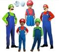 Бесплатная Доставка 2014 Горячие Продажа Взрослых дети Хеллоуин костюм косплей костюм партии костюм Супер Марио Одежда + шапки + усы + перчатки