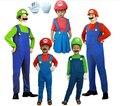 Envío Gratis 2014 Venta Caliente niños Adultos de disfraces de Halloween cosplay Ropa de fiesta de disfraces de Super Mario + sombreros + bigote + guantes