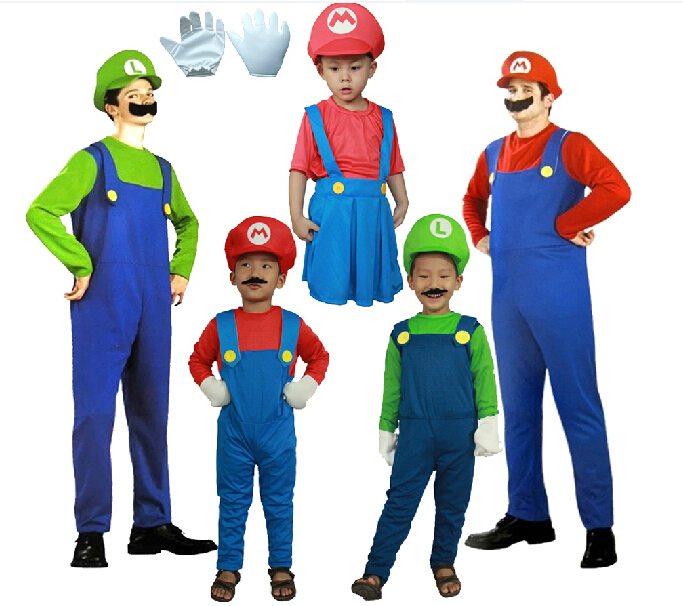 Free Shipping Hot Sale Adult kids Halloween cosplay costume party Clothing Super Mario Clothing+hats+mustache+gloves