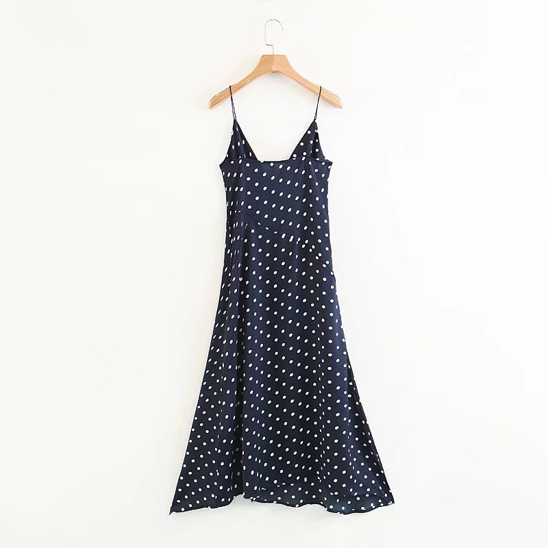 2018 Summer New Corrugated Dot Print V-neck High waist Tie Side Split Strap Dress