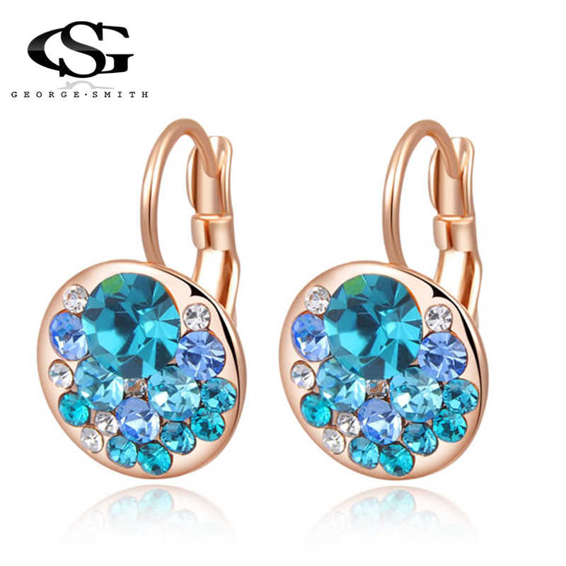 GS AAA Zircon Earrings For Women Crystal Earrings Wedding Bridal Party Jewelry Trendy Rose Gold Earrings Gem Stone Blue arete R3