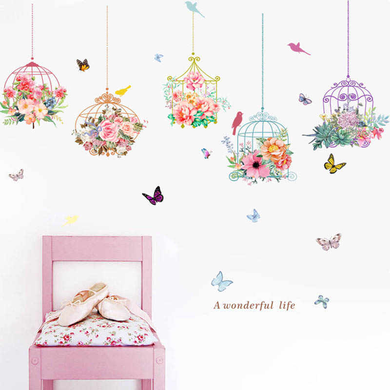 Colorful Garden Plants Flower Wall Stickers For Kids Room Home Decor 3D Vivid Wall Decals PVC Mural Art DIY Poster Decoration