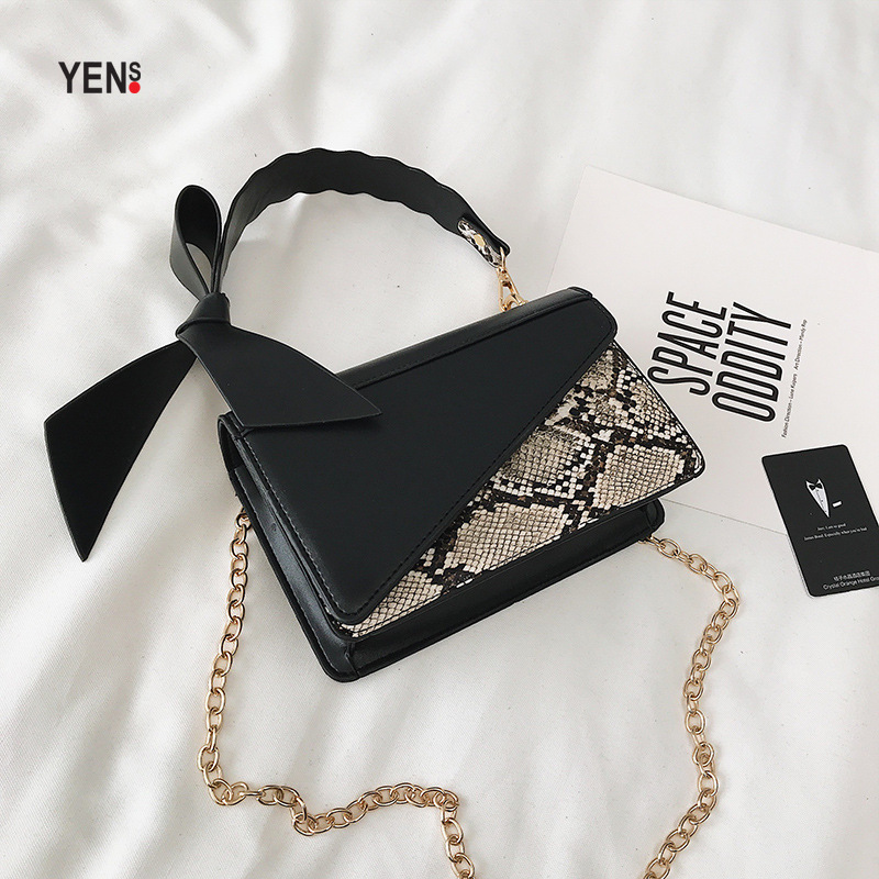 Vintage Women Leather Handbag Designer Serpentine Snake Prints Bow Small Crossbody Bag Luxury Shoulder Bags Chain Clutch Purse