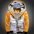2016 Plus Size 4XL Wool Liner Men's Hooded Winter Outwear Patchwork Letter Printing Warm Men Sweatshirts Tracksuit Active Wear
