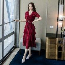 Plus Size 2019 Summer Black Blouse and Cupcake Midi Dress Women 2 Pieces Set Elegant Suit Korean Style Casual Two