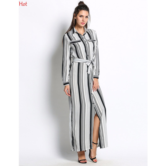 a5c0211d2fbc Hot Black White Striped Maxi Shirt Dress Long Sleeve Elegant Button Party  Dresses High Split Sexy Tie Waist Tunic Dress SV030085