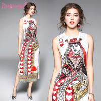 New 2018 Print Women Dress Fashion Casual Dresses Long Poker printing high quality dress AMBMCM