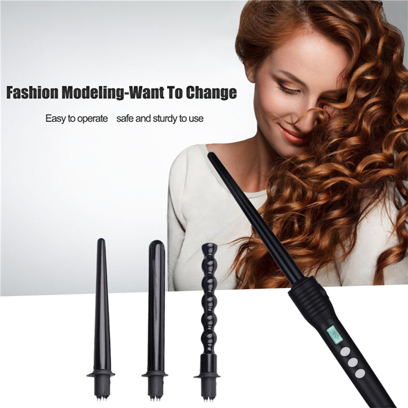 CkeyiN Hair Curler Set The Wand Curling Iron 4 In 1 Interchangeable Curler Roller Conical Gourd Shaped Electric Hair Styler Curl ckeyin 9 31mm ceramic curling iron hair waver wave machine magic spiral hair curler roller curling wand hair styler styling tool