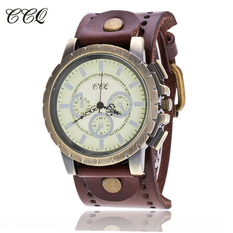 цены CCQ Brand Vintage Relogio Masculino Cow Leather Men WristWatch Casual Luxury Quartz Watch Reloj Hombre Clock Hours C18