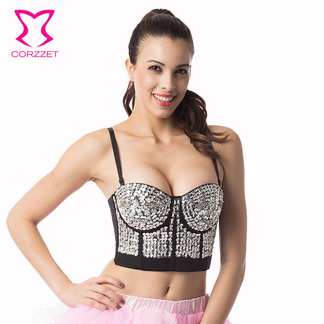 0b4b4f21a9 Corzzet Punk Gold Sequined Bustiers Bra Push Up Cup Top Burlesque Party  Dancing Clubwear Erotic Underwear For Women Lingerie