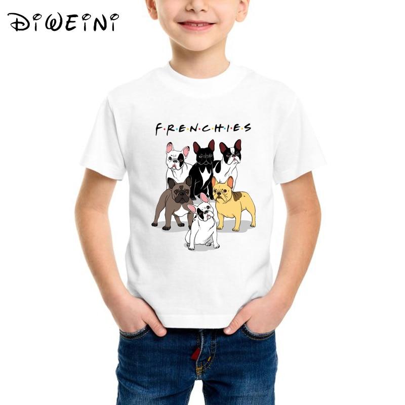 Bulldog Pig Kids Cotton T-Shirt Basic Soft Short Sleeve Tee Tops for Baby Boys Girls