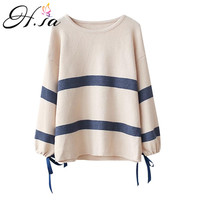 H SA 2017 Autumn Winter Women Korean Sweaters Cute Bow Lace Up Striped Pullover Jumpers Loose