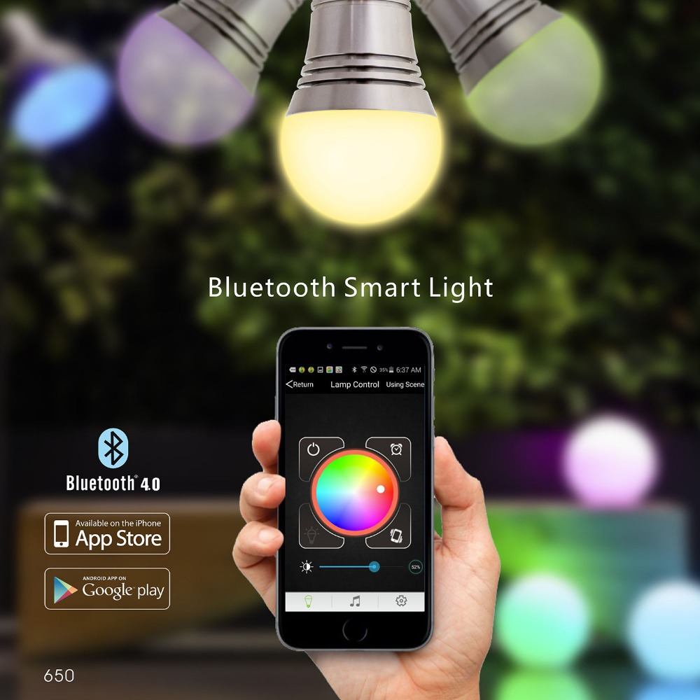 Bluetooth Smart LED Light Bulb Smartphone Controlled Dimmable ...
