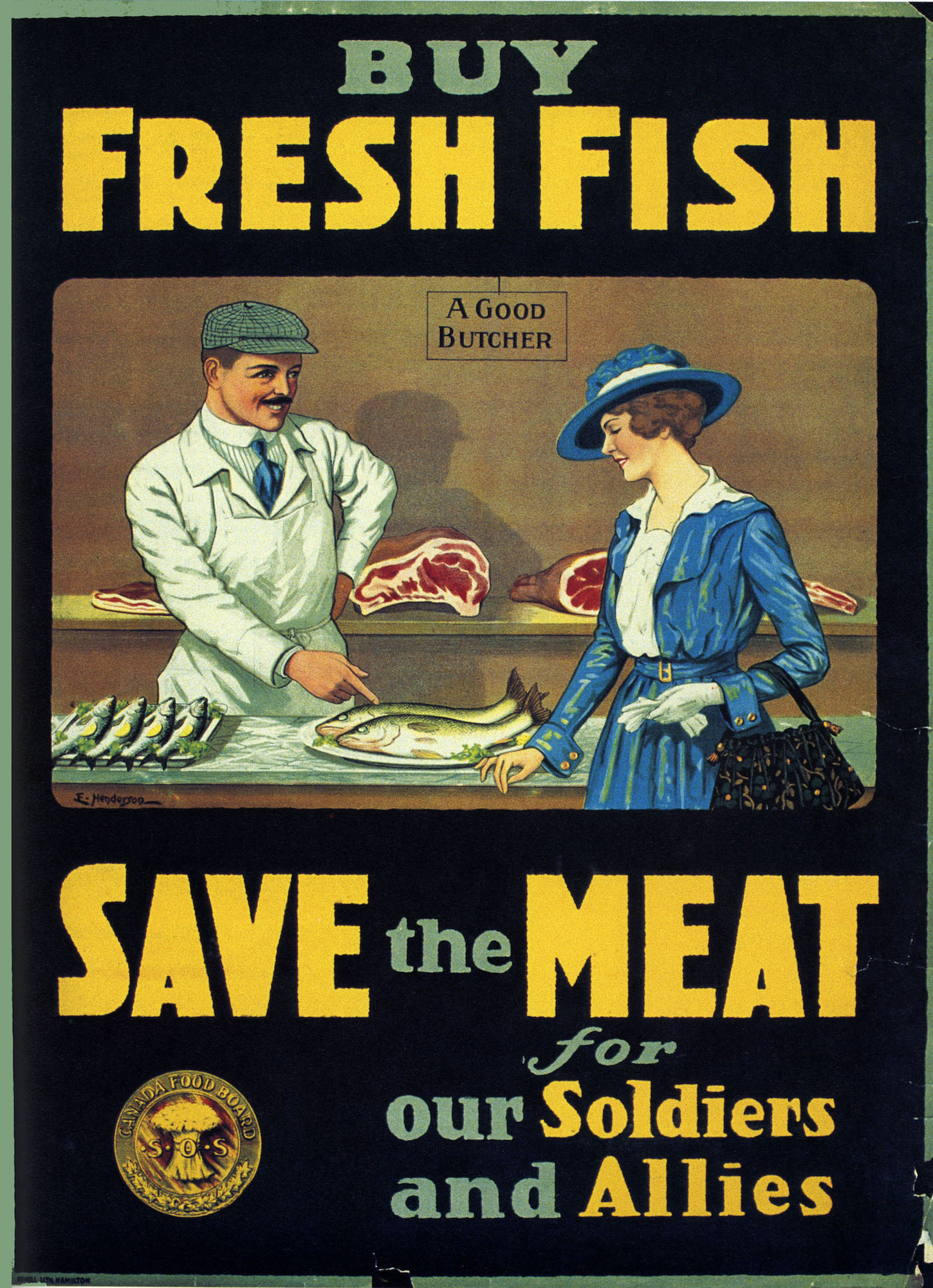 Vintage Advertising Poster WW1 Canada Save The Meat ...