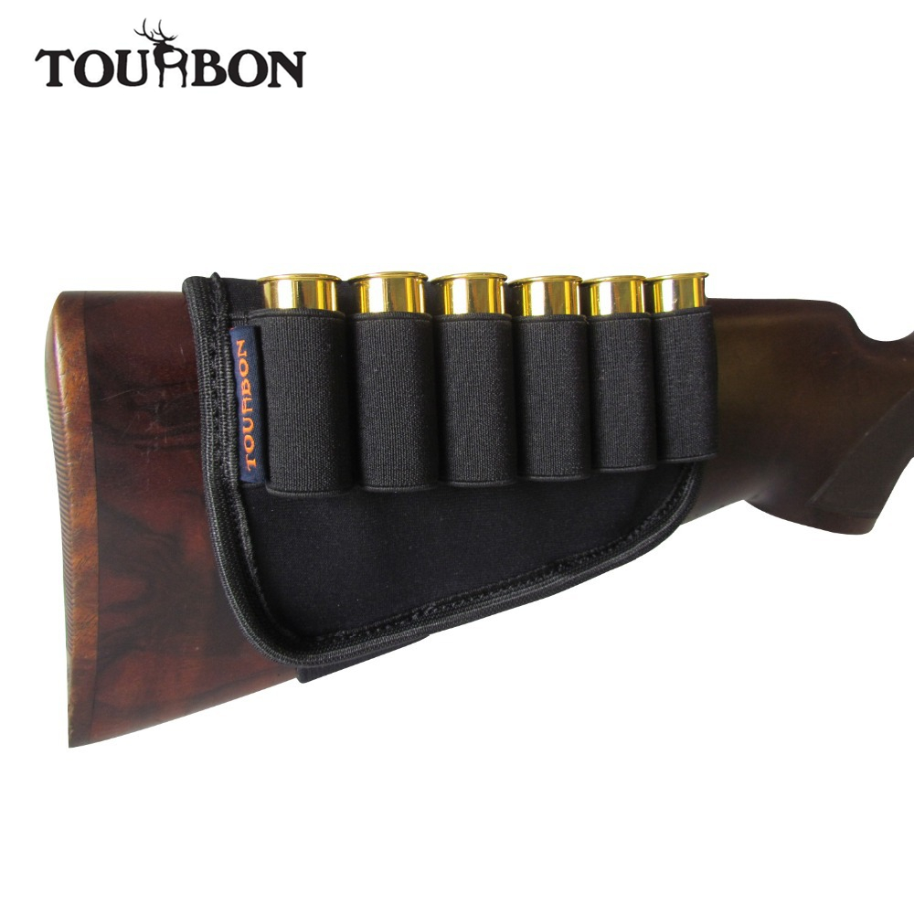 Tourbon Hunting Gun Accessories Buttstock 12 Gauge Shotgun Ammo Cartridges Holder Elastic for Hunting Shooting